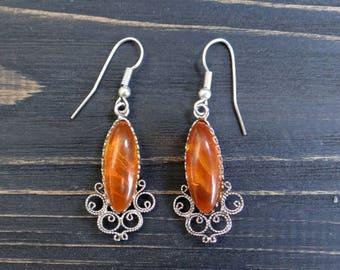 Vintage earrings boho earrings celtic earrings celtic jewelry boho jewelry russian vintage jewelry silver plated gift/for/mom amber earrings