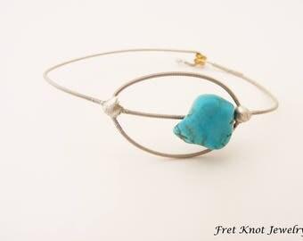 Turquoise Bracelet - Minimalist Turquoise Bracelet - Guitar String Jewelry - Handmade Jewelry - Painted Bead