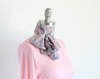 Pastel grey skinny scarf in two Liberty prints/delicate multicolored wildflowers mixed with an abstract plaid, pattern play, pussy bow scarf