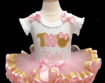 2nd Birthday girl outfit, pink and gold tutu outfit, ribbon trim tutu, word two birthday outfit, minnie birthday outfit, tutu dress,