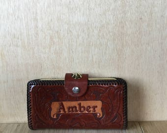 """Hand Tooled Leather Cognac Brown Personalized """"Amber"""" Wallet Checkbook Clutch with Coin Purse"""