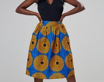 African High Waist Skirt; African skirt; Ankara skirt, African Print skirt, midi skirt, knee length skirt, African Skirt [MIA midi skirt]