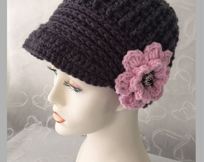 Crocheted Newsboy Hat--Vintage Caps-Womens 1920's-Winter Accessories -Charcoal Caps-Big Flowers-Pink Blossoms-Cloche Hats