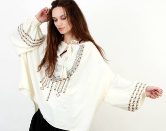 Peasant Boh Blouse / Peasant Embroidered Blouse / White Boho Blouse / White Embroidered Blouse / One Size Blouse / Wide Large Blouse /