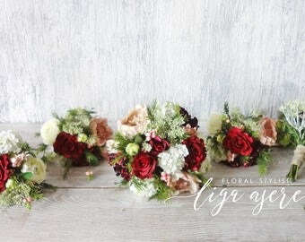 Burgundy bridal bouquet rustic style wedding package bridesmaids bouquets silk flowers Rosemary Berries  Woodland artificial wedding