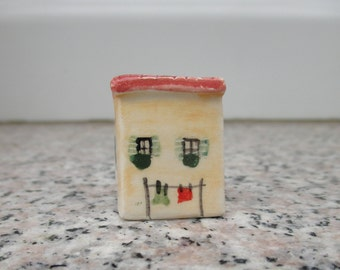 Small Pottery House,Tiny Ceramic Mediterranean House,Little Italian house,Tuscan House,Tiny House,Pottery Village,Rustic,Orange Tiny House