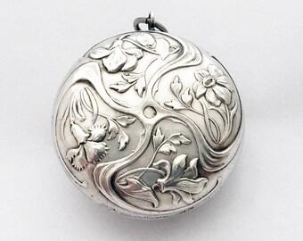 1900s Antique Medallion Locket Powder Compact / French Art Nouveau Pendant Pill Box