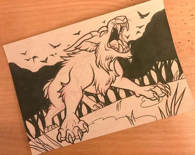 Cryptid Inktober 2017 Illustration - Ozark Howler