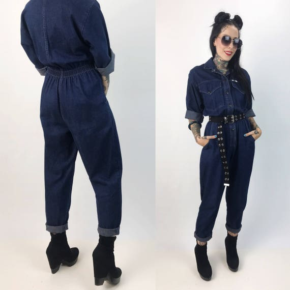 80's Dark Denim Jumper Pants Suit Coveralls Women's Small - Utility Minimalist Jumpsuit Pants One Piece Suit - VTG Snap Front Denim Jumper