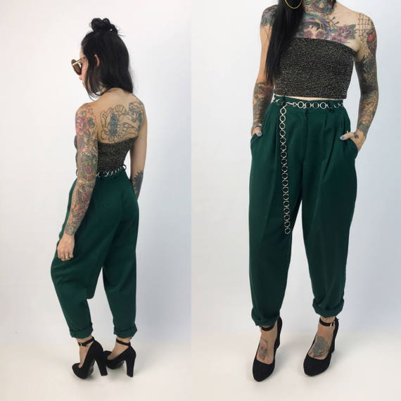 "90's High Waist Dark Forest Green Trousers Womens Size 4 - Tapered Leg Cuffed Vintage Casual Pants - VTG Trousers 27"" High Waist Dress Pants"