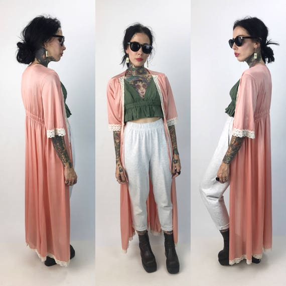 Vintage Peachy Lace Layering Robe Small/Medium - Lace Trim Nylon Lingerie Layering Duster - Long Pretty Girly Button Front Sexy Robe Layer