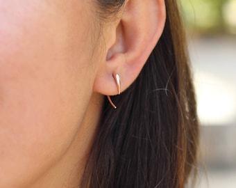 Tusk Earrings / Solid Gold / Pair / Bohemnian Style