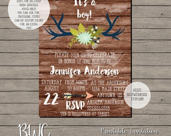 Baby Shower Invitation, Antlers Invitation, Oh Deer Baby Shower, Fall Invitation, Rustic Baby Shower, Printable Invitation, Digital File