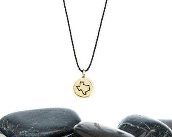 Tiny State Wish Necklace in Brass