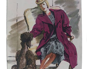 Vintage 40s Fashion Magazine Vogue? Woman Mulberry Wool Coat Standard Poodle Jay Thorpe Gown Signed REVERSIBLE