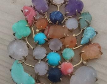 Vintage multi coloured gemstone brooch