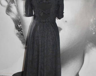 Vintage laura ashley black party dress 80's bow backless full skirt 12 evening