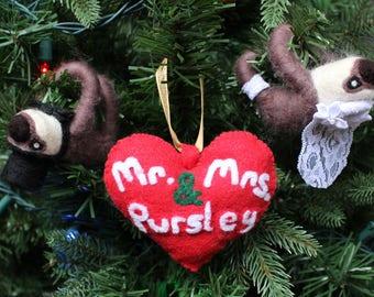Custom Needle-felted Wedding Christmas Ornaments
