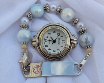 Interchangeable Medical ID or Watch Stretchy Bracelet