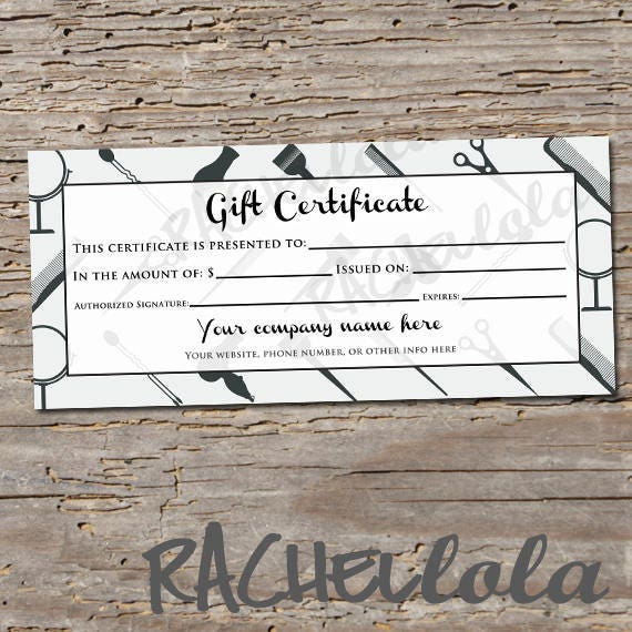 custom hair salon grey printable gift certificate template