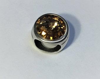 12mm Golden Shadow Swarovski Crystal Slider for Double Stranded Round Leather Bracelets