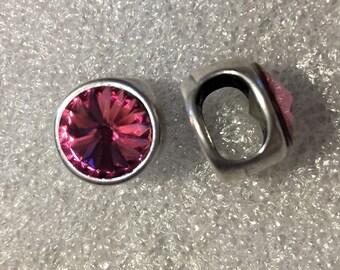 SALE: 1 Rose Swarovski Crystal Slider for Double Stranded 5mm Round Leather Bracelets