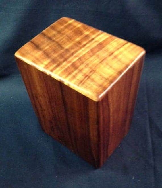 "Large Curly Hawaiian Koa Wooden Memorial Cremation Urn... 7""wide x 5""deep x 9""high Wood Adult Cremation Urn LK081017B"