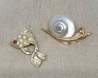 Fish & Snail Sea Shell Gold Tone Brooch (2), Vintage Costume Jewelry Pins