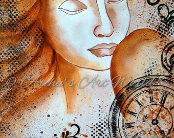 """Mixed Media Girl """"SERENE""""  9 x 12 inches on watercolor paper, Indian Art, Home decor"""