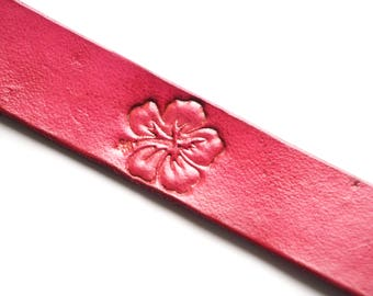 Leather Bookmark | Hibiscus Flower
