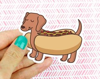 Cute Dachshund Hot Dog Vinyl Sticker, Doxie Gift, Dog Lover Gift, Funny Food Gift, Best Friend, Birthday Gift, Dachshund Art, Laptop Decal