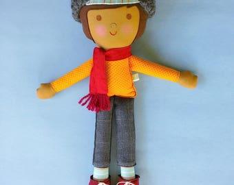 Custom Boy Doll, Custom Rag Doll, Personalized Doll for Boys, Keepsake Boy Doll, Miles Cloth Boy Doll