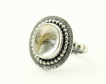 Golden Rutile Quartz Gemstone Ring Sterling Silver JMK size 7
