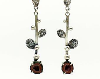 Geode Earrings, Druzy Earrings, Leaf Earrings, Crystal Earrings, Dangle Earrings, Drop Earrings, Silver Earrings, Geode Jewelry, Agate