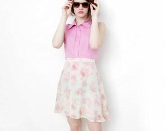 Vintage skirt // pastel rose print short skirt