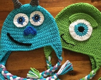 Crochet Hat Sully or Mike from Monsters Inc.