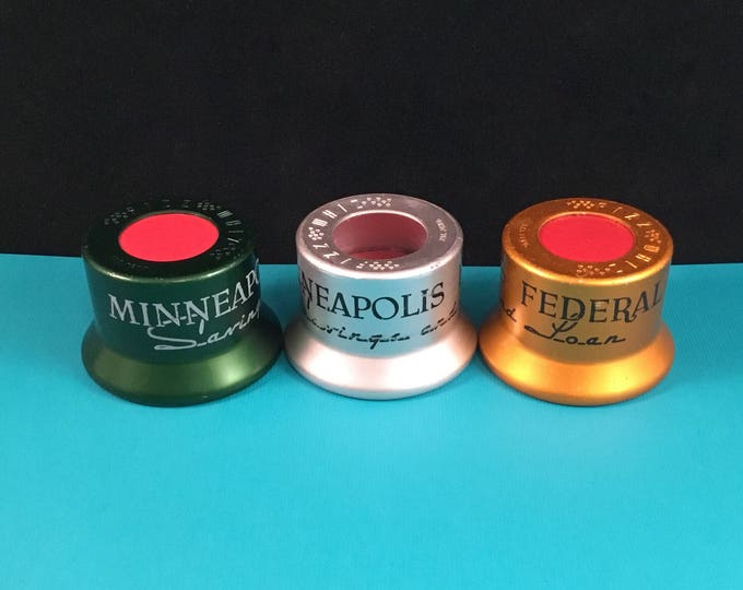 BARWARE Set of 3 Vintage FIZZ WHIZ Aluminum Bottle Caps Minneapolis Federal Savings and Loan Advertising