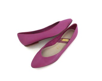 Pointy Flats Purple Size 9 9.5 1980s 80s Shoes Fuchsia Pink Glow Costume Leather Ballet Flat Pointed Toe