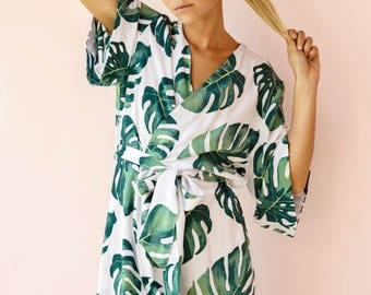Bridesmaid Robe, Short Kimono Robe UN-LINED - Panama Palm