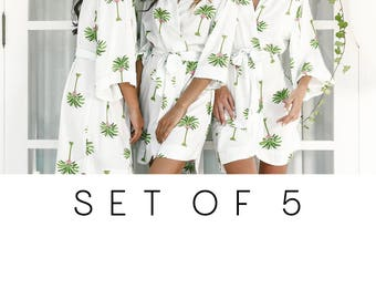 SET OF 5 - 15% Disc - Bespoke Bridesmaid Robes Set of 5 - Palm Springs - Code: P053 (B)