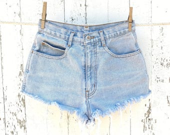 High Waisted Shorts 25 Waist Vintage Denim