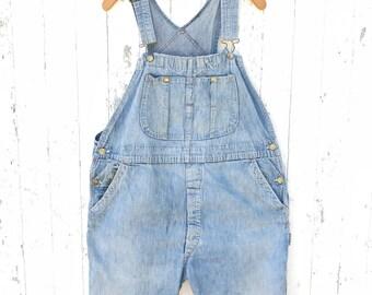 Vintage Denim Overalls Shorts Sz M 1960s Dungarees Salopette