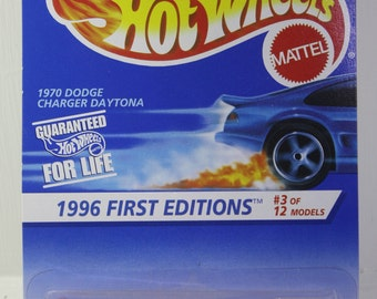 1996 NOS Mattel Hot Wheels First Editions #3, 1970 Dodge Charger Daytona  1/64 Scale Diecast Vehicle Card #382 - Free shipping Domestic USA