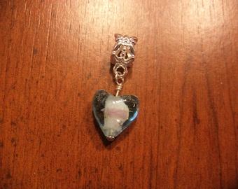 Silver blue heart lampwork pendant
