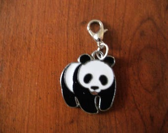 black and white panda silver snap charms