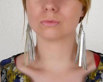 Long earrings, Silver fringe earrings, Wife statement gift, Leather earrings, Festive earrings, Dangle silver earrings, gift for girlfriend