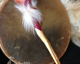 Cherry Drumstick Rattle - Elk rawhide Shamans Rattle w/ sable Wolf fur - two in one - Drum Mallet - Wolf Spirit - Power Animal - Totem