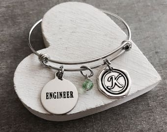 Female Engineer, Civil Engineer, Mechanical Engineer, Engineering, Graduation, Gifts, Silver Bracelet, Silver Jewelry, Charm Bracelet