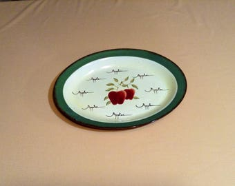 "Large Oval Serving Platter - Home Interior Apple Orchard Collection, Hand Painted Earthenware - Country Home, Cottage Chic - 16 1/2"" Long"
