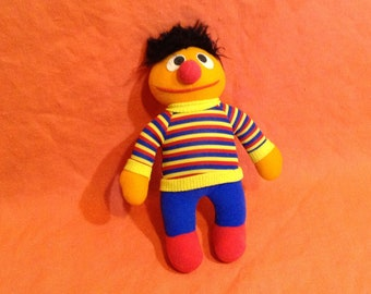 Vintage Ernie Plush Doll - Sesame Street Muppets Stuffed Toy, Hasbro Softies